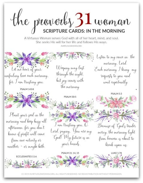 Free Printable Scripture Cards: In the Morning @ AVirtuousWoman.org