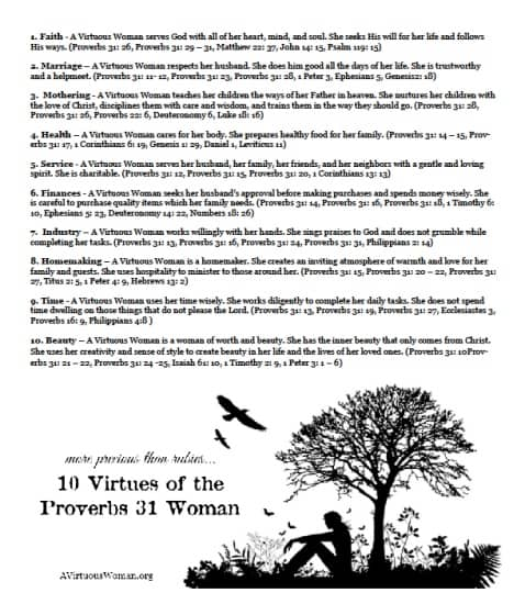 10 Virtues of the Proverbs 31 Woman - Printable | A Virtuous Woman