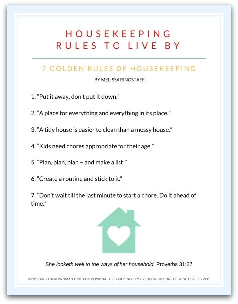 Free Printable | Housekeeping Rules to Live By @ AVirtuousWoman.org
