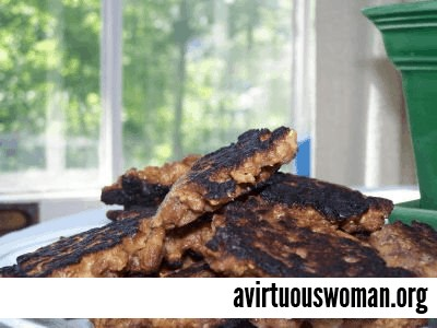 """Vegetarian """"Sausage"""" Patties with a #vegan and/or #glutenfree option @ AVirtuousWoman.org"""