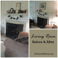 Living Room Before & After @ AVirtuousWoman.org
