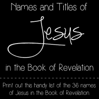 Name and Titles of Jesus in the Book of Revelation - Print out this handy list of the 36 names of Jesus in the Book of Revelation. @ AVirtuousWoman.org