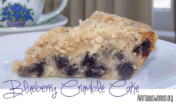 Blueberry Crumble Cake Recipe @ AVirtuousWoman.org