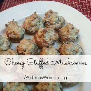 These Cheesy Stuffed Mushrooms are amazing!!! @ AVirtuousWoman.org