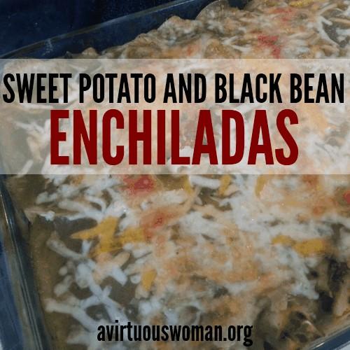 Sweet Potato and Black Bean Enchiladas --- this recips is soooo good! It's one of our family favorites! @ AVirtuousWoman.org
