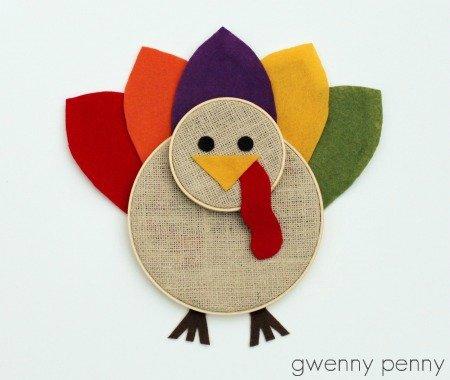 Embroidery Hoop Turkey Tutorial