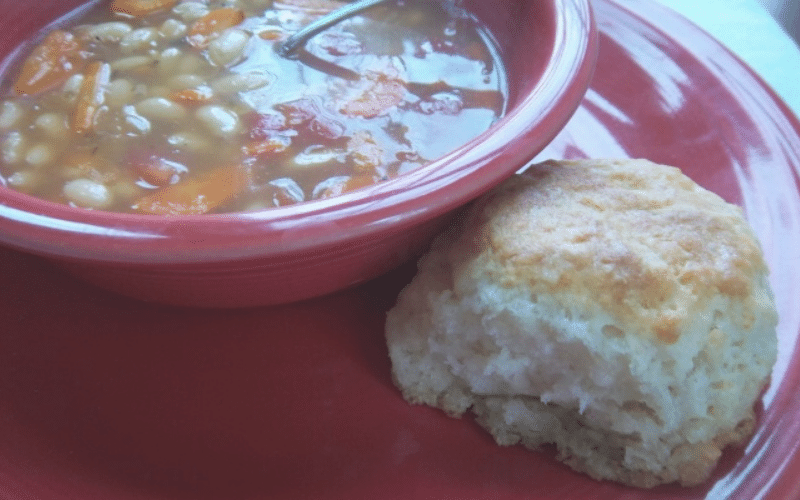 7 Up Biscuits with a bowl of soup @ AVirtuousWoman.org
