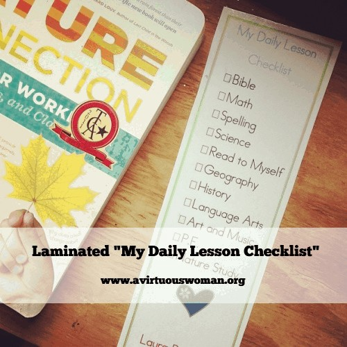 Free Printable Daily Lesson Checklist @ AVirtuousWoman.org #homeschool