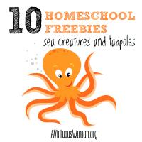 Homeschool Freebies: Sea Creatures and Tadpoles @ AVirtuousWoman.org #homeschool