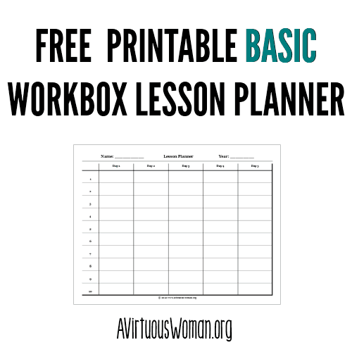 Free Printable #Workbox Lesson Planner @ AVirtuousWoman.org #homeschool