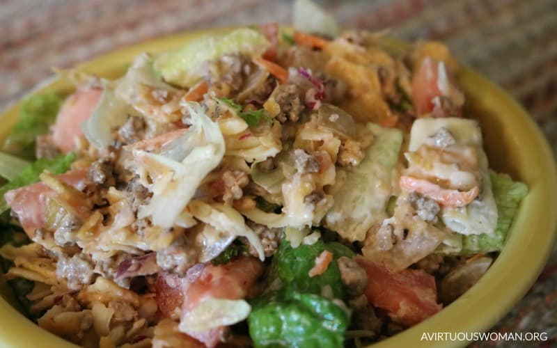 Easy Taco Salad @ AVirtuousWoman.org
