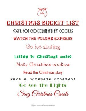 Creating a Christmas Bucket List