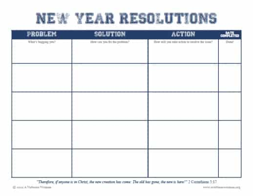 new year resolution printable on avirtuouswoman.org