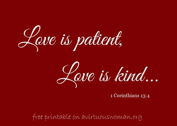 Love is patient, love is kind - free printable | A Virtuous Woman