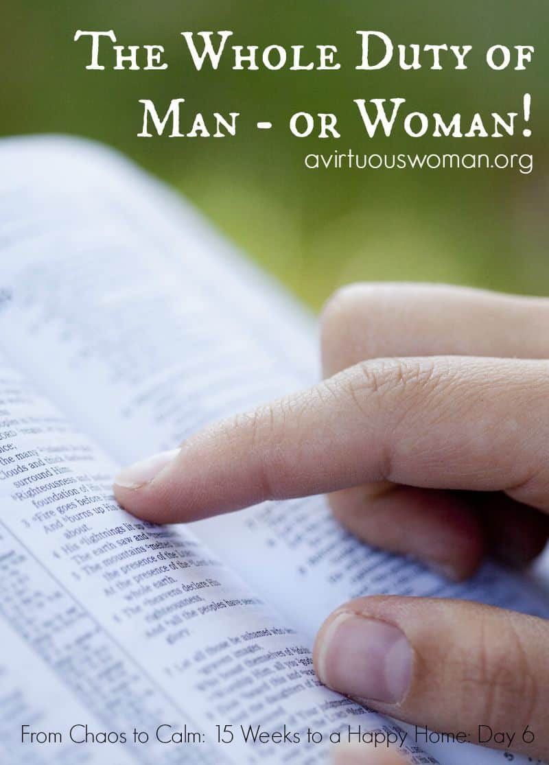 The Whole Duty of Man - or Woman! @ AVirtuousWoman.org