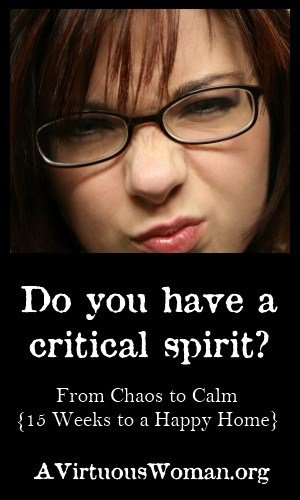 Do You Have a Critical Spirit? {From Chaos to Calm: 15 Weeks to a Happy Home} | A Virtuous Woman