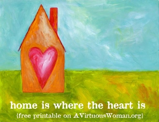 Home is Where the Heart Is {Free Art Print to Download} | A Virtuous Woman #springclean #cleanheartandhome