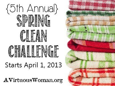 {5th Annual} Spring Clean Challenge - Begins April 1, 2013 - Daily Prizes and Free E-book! | A Virtuous Woman