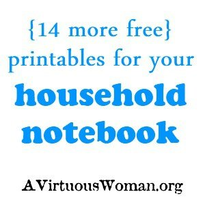 More Free Household Notebook Printables | A Virtuous Woman