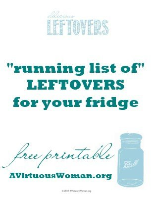 "{Free Printable} ""Running List of Leftovers"" for Your Fridge 