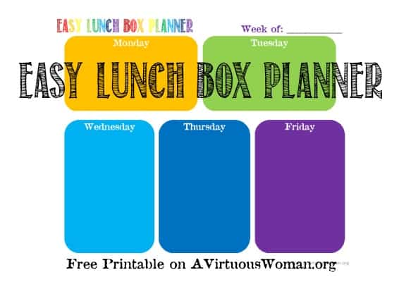 Easy Lunch Box Planner {Free Printable}