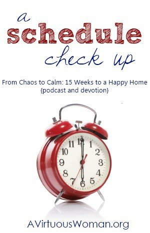 A Schedule Check-Up {From Chaos to Calm: 15 Weeks to a Happy Home} | A Virtuous Woman #fromchaostocalm