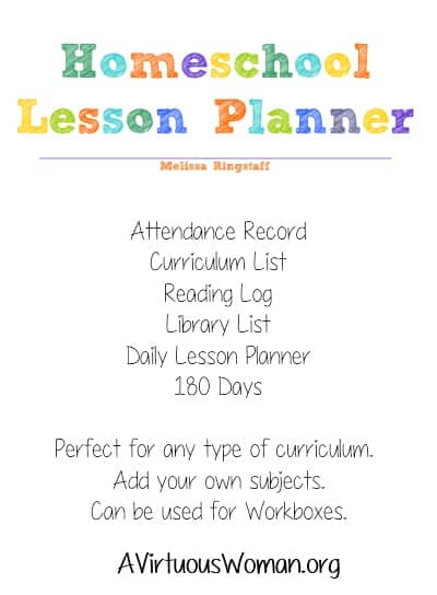 Homeschool Lesson Planner {40 Pages} $0.99 |  A Virtuous Woman - Plus! Free printable coordinating 12 month school calendar #homeschool