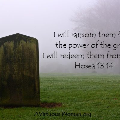 """""""I will ransom them from the power of the grave; I will redeem them from death."""" Hosea 13:14 