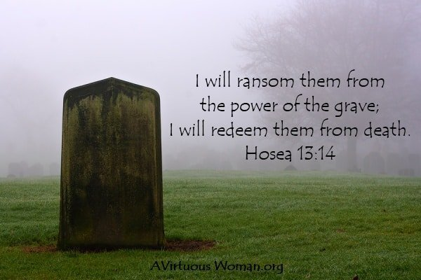 """I will ransom them from the power of the grave; I will redeem them from death."" Hosea 13:14 