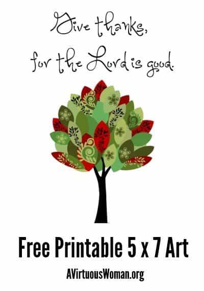 Give Thanks {Free Printable Art} @ A Virtuous Woman
