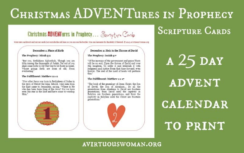 Christmas ADVENTures in Prophecy Scripture Cards to Print @ AVirtuousWoman.org