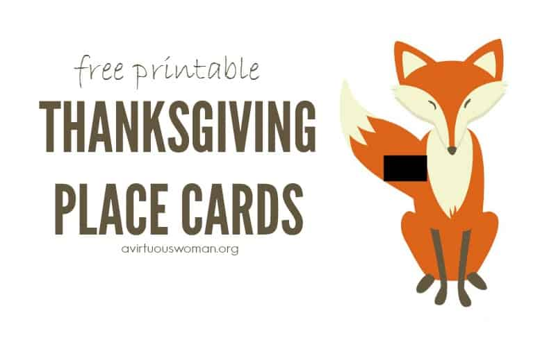Fox Place Cards for Thanksgiving @ AVirtuousWoman.org