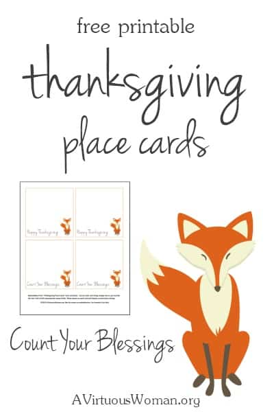 Free Printable Thanksgiving Placecards - these are so sweet! @ AVirtuousWoman.org #thanksgiving
