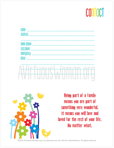 "Contact Page from ""This is My Life"" Planners @ AVirtuousWoman.org #planners #proverbs31 #moms"