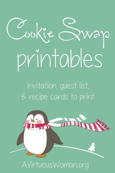 Free Cookie Swap Printables - Everything you need to organize a cookie swap with your friends! Print out this super sweet set of penguin Cookie Swap Invitations, Guest List, and Recipe Cards!  @ AVirtuousWoman.org #Christmas #printables