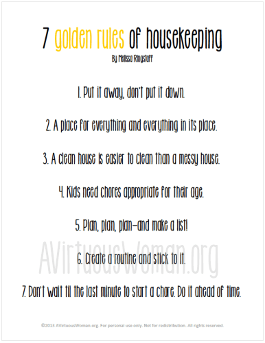 Golden rules for housekeeping by melissa ringstaff from quot this is my