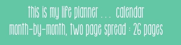 This is My Life Planner - Calendar Add-on @ A Virtuous Woman  #planner