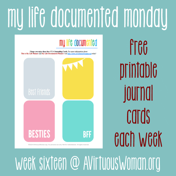 Are you a Project Lifer? Me too! Enjoy these free printable 3 x 4 journal cards each week! @ AVirtuousWoman.org