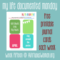 Are you an Project Lifer? Me too! Enjoy these free printable 3 x 4 journal cards each week! @ AVirtuousWoman.org