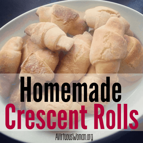 Homemade Crescent Rolls - These rolls are so easy to make, light, buttery, and FLAKY - everything you want in a crescent roll!! The perfect replacement for Pillsbury Crescent Rolls! And you know what's in them. You have to try this recipe! @ AVirtuousWoman.org #realfood #copycat