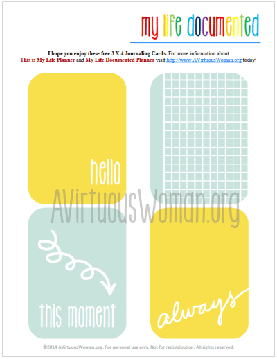 My Life Documented Monday - Free Printable Journal Cards for #ProjectLife @ AVirtuousWoman.org