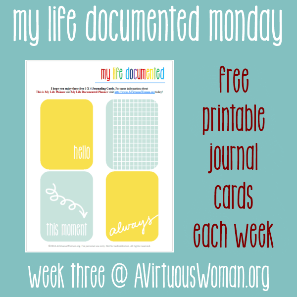 "My Life Documented Monday - Free Printable ""Let It Snow"" Journal Cards for #ProjectLife @ AVirtuousWoman.org"