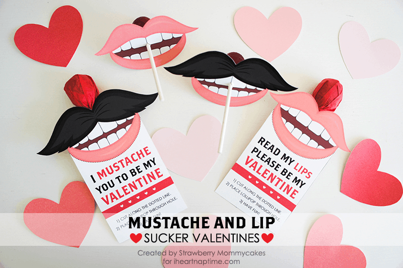 Mustache and Lip Valentines from iheartnaptime.net