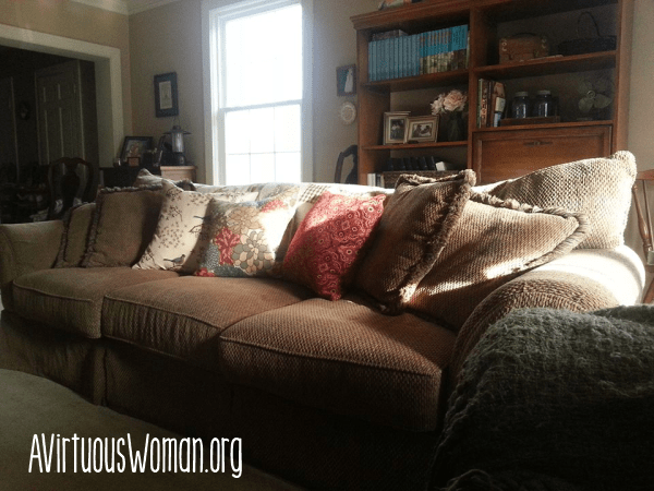 Inexpensive Throw Pillows from Wal_mart {Intentional Homemaking} @ AVirtuousWoman.org