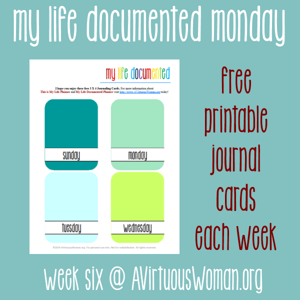 My Life Documented Mondays {Free Printable Journal Cards each week!} Weekdays @ AVirtuousWoman.org #ProjectLife