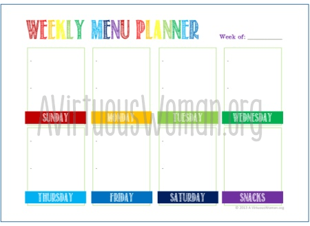 How to Menu Plan for the Week @ AVirtuousWoman.org -------- How menu planning reduces stress, helps you eat healthier, and saves your day! Plus tips and tools to help you in your planning. #menuplanning #busymoms