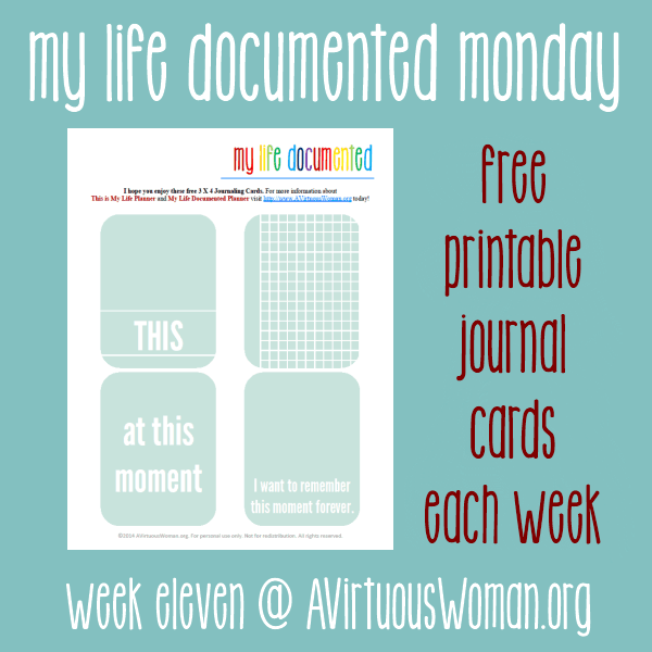 Document the everyday. My Life Documented Mondays on AVirtuousWoman.org --- FREE printable journal cards each week! Week #11 --- This Moment. #ProjectLife