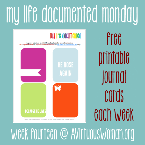 My Life Documented Mondays #14 {Free Printable Journal Cards each Week!} @ AVirtuousWoman.org