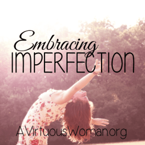 Embracing Imperfection @ AVirtuousWoman.org --- Why would I expect not short of perfection from myself?