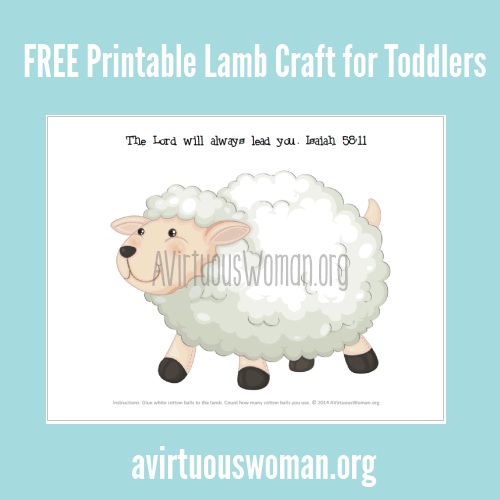 Free Printable Lamb Craft for Toddlers @ AVirtuousWoman.org